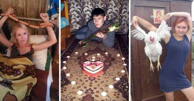 Awful Profile Pictures From Russian Dating Sites | woman tied to a bed with sausages | woman posing with a chicken