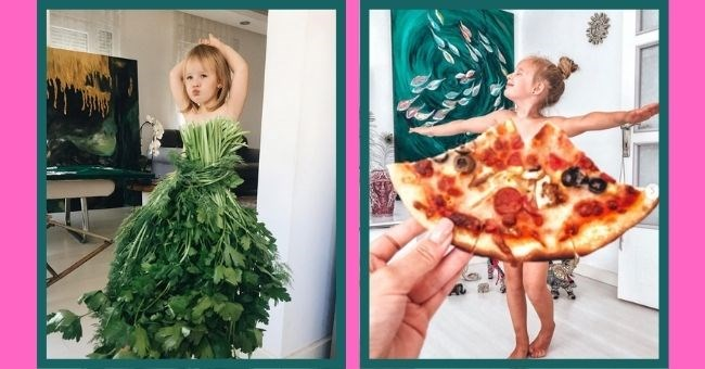 pictures of girl in food Fashion - cover pic little girl posing in dressed made out of leaves and pizza