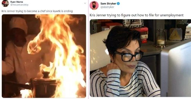 people share funniest memes of KUWTK ending on Twitter - cover pic | text - Ryan Warne @thouartvandelay Kris Jenner trying to become a chef since kuwtk is ending