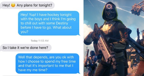 destiny FAIL freakout texting video games dating - 1249285