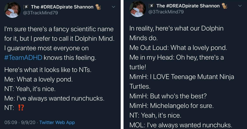 funny twitter thread about the dolphin minds of people with adhd | Thread DREADpirate Shannon @3TrackMind79 sure there's fancy scientific name but prefer call Dolphin Mind guarantee most everyone on #TeamADHD knows this feeling. Here's looks like NTs lovely pond. NT: Yeah s nice always wanted nunchucks. | DREADpirate Shannon @3TrackMind79 reality, here's our Dolphin Minds do Out Loud lovely pond my Head: Oh hey, there's turtle! MimH: LOVE Teenage Mutant Ninja Turtles. MimH: But who's best? MimH: