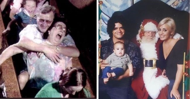funny family photos that still somehow got uploaded to Instagram - thumbnail includes two pics awkward photo on amusement park ride and photo with Santa staring at woman's cleavage