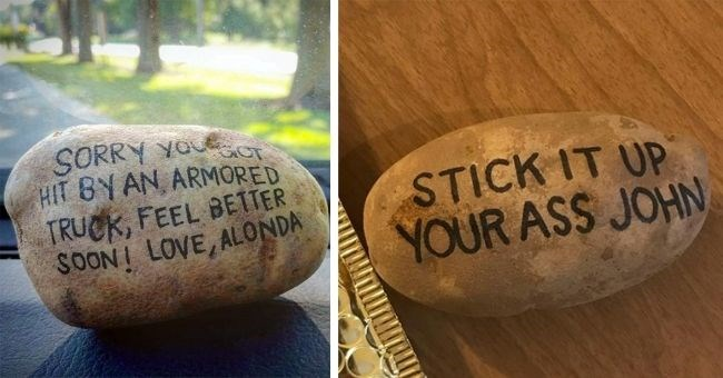 funny pictures of messages written on potatoes - thumbnail includes two pics of potatoes text SORRY YOU GOT HIT BY AN ARMORED TRUCK, FEEL BETTER SOON! LOVE, ALONDA