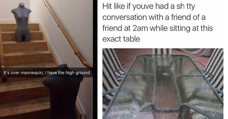Funny random memes | Star Wars prequels Anakin Obi Wan over mannequin have high ground | Hit like if youve had shitty conversation with friend friend at 2am while sitting at this exact table glass table