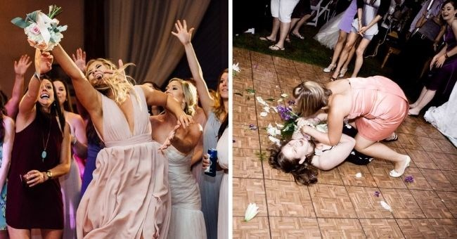 pictures of bridesmaids going crazy over bouquet toss - thumbnail pic showing two pics of bridesmaids fighting for the bouquet