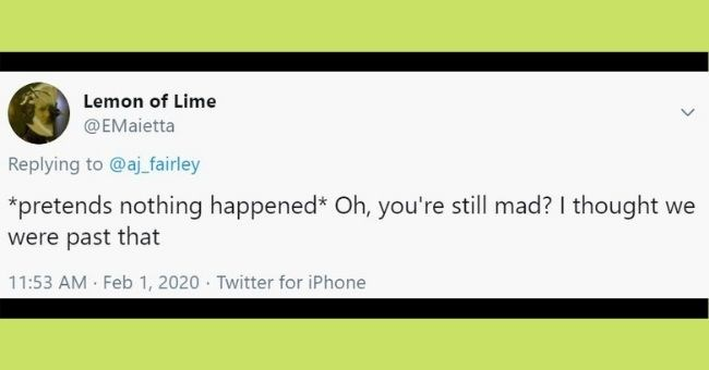 funny texts about men apologizing Text - Lemon of Lime @EMaietta Replying to @aj_fairley *pretends nothing happened* Oh, you're still mad? I thought we were past that