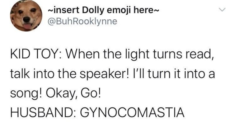 A woman shares various overheards from her medical student husband | insert Dolly emoji here BuhRooklynne KID TOY light turns read, talk into speaker turn into song! Okay, Go! HUSBAND: GYNOCOMASTIA