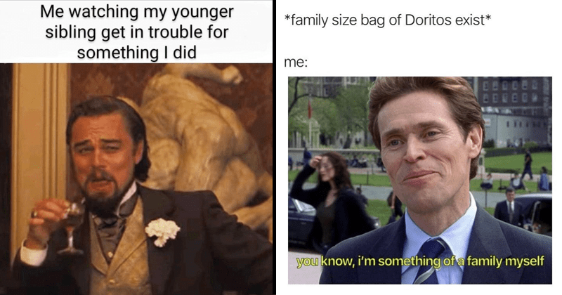 funny random memes, leonardo dicaprio memes, dank memes, stupid memes, funny tweets | watching my younger sibling get trouble something did | family size bag Doritos exist BERED 111 know something family myself Willem Dafoe Spider Man