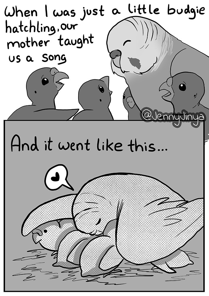 jenny jinya's newest comic about the neglect of a parakeet - thumbnail of mama bird with babies | just little budgie hatchling.our mother taught us Song @lennyiny And went like this