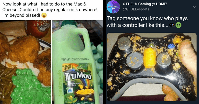 funny memes, cringeworthy, cringey images, cursed images, yikes | Mar 21 at 1:31 PM O Now look at had do Mac Cheese! Couldn't find any regular milk nowhere beyond pissed! Rey ORI SELL t 03/26/20 rs LIMITED EDITION TruMou gh fructose prup NO GMO Naturally Ravored 130 Mint Vanilla Lowfat M CALL CALINES @natespade | G FUEL® Gaming HOME! GFUEL @GFUELesports CAMINO Tag someone know who plays with controller like this 15:00 24 Aug 20 Sprout Social 25 Retweets 50 Quote Tweets 366 Likes 27