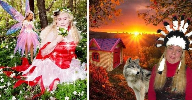 Lithuanian woman has bizarrely photoshopped Facebook profile pictures - thumbnail includes two pictures crouching with a fairy in forest and wearing native Indian head piece with wolf