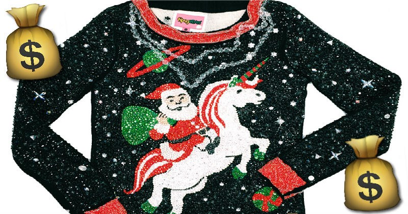 christmas,fashion,ugly sweater,world record,money
