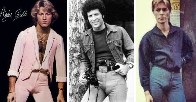 pictures of rock stars from the 1960s and 1970s wearing tight pants showing off their bulges | Andy Gibb Tom Jones David Bowie