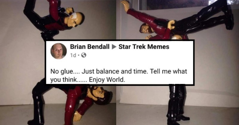 Balancing act made with star trek action figures | Brian Bendall Star Trek Memes No glue. Just balance and time. Tell think Enjoy World.
