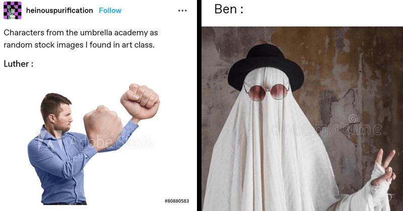 Weird stock photos as characters from the umbrella academy | heinouspurification Follow Characters umbrella academy as random stock images found art class. Luther man with giant fists | Ben ghost sheet in a hat and glasses