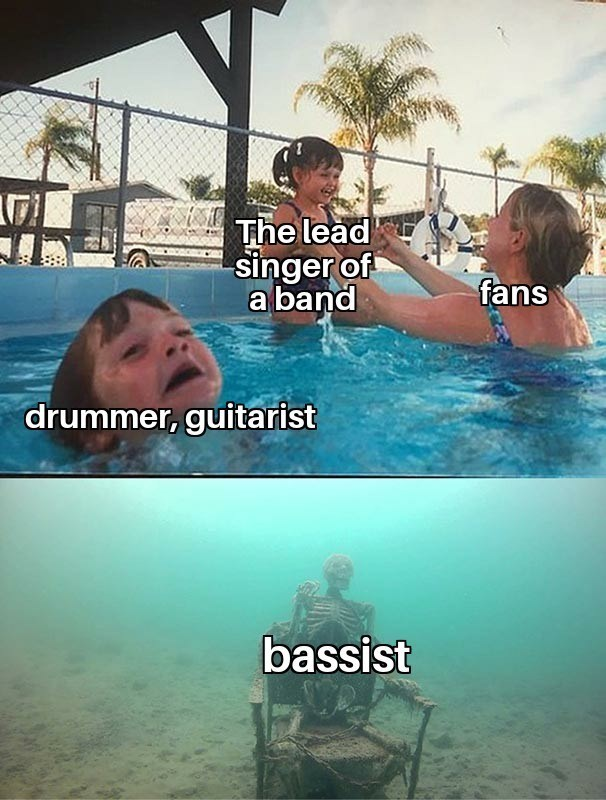 top funny random memes hilarious best of reddit coronavirus covid-19 2020 gaming video game among us dirty spicy dark humor leonardo dicaprio scarlett johansson | mom playing with kid in water while another kid drowns and a skeleton sitting at the bottom of the pool lead singer band fans drummer, guitarist bassist