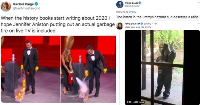 best memes from the 2020 Emmy awards - Text Rachel Paige O @rachmeetsworld When the history books start writing about 2020 1 hope Jennifer Aniston putting out an actual garbage fire on live TV is included