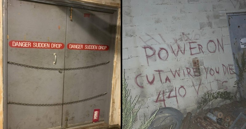 Warning signs that are creepy and ominous | DANGER SUDDEN DROP DANGER SUDDEN DROP door bolted shut | POWER ON Cut a wire YOU DIE 440 Volts red writing on wall