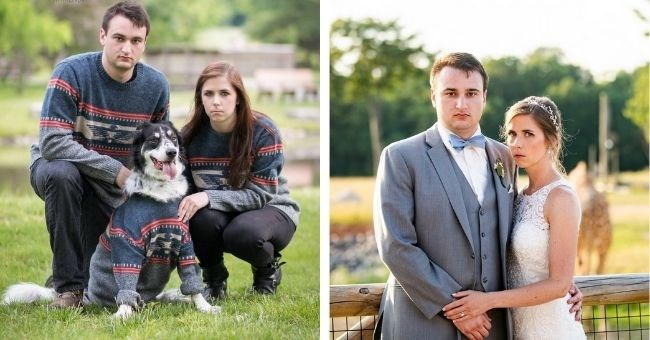 funny pictures of couple who pull serious faces in all major life even photos - thumbnail includes two pictures of couple with dog and on wedding day