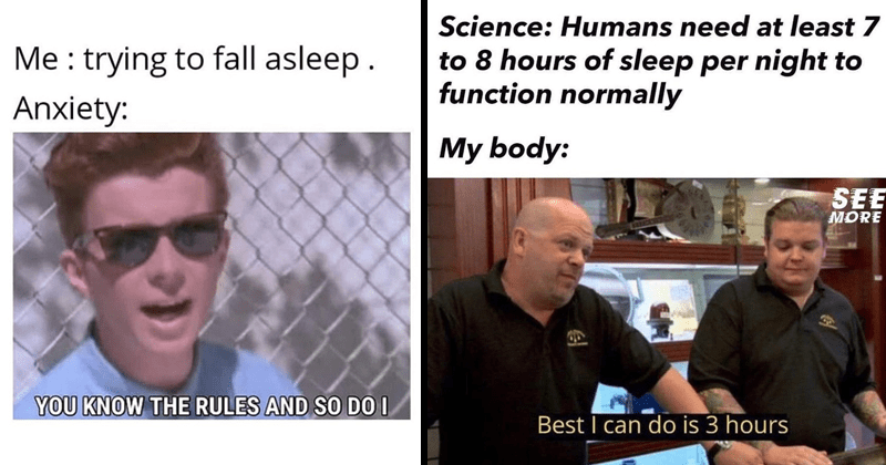 Funny memes about insomnia, sleep cycle funny | trying fall asleep. Anxiety KNOW RULES AND SO DO Rick Astley | Science: Humans need at least 7 8 hours sleep per night function normally My body: SEE MORE Best can do is 3 hours ?