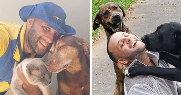 mailman documents all the animals he encounters at his job with a selfie - thumbnail includes two images both of mailman with animals and smiling
