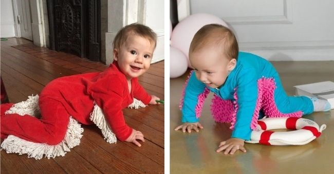 pictures of babies wearing mop onesies - thumbnail includes two pictures of babies wearing mop onesies