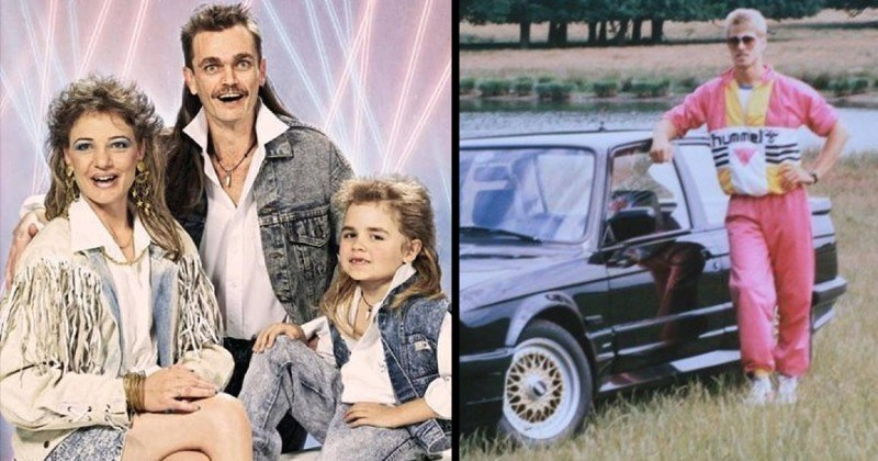 Funny 80s nostalgia fashion pics | family portrait of three dad with a mullet mom in a fringe jacket and daughter in a denim vest | man in a pink suit posing by a car