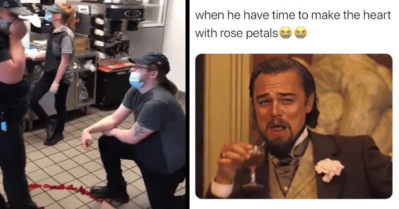 Funny tweets and response to TikTok McDonald's proposal | person in a face mask kneeling down in a fast food restaurant | Laughing Leo DiCaprio when he have time to make the heart rose petals