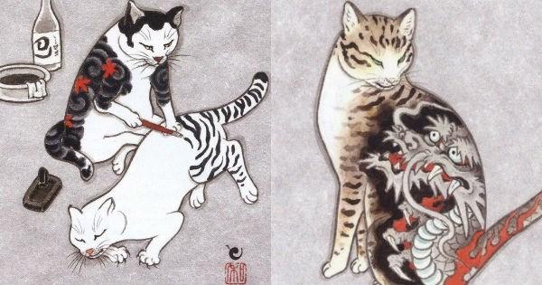 Japanese art of cats with tattoos by Kazuaki Horitomo