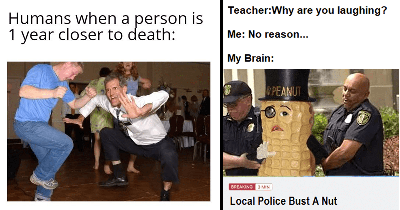 Dank Drop, trending dank memes, funny memes, among us, leonardo dicaprio, relatable memes | Humans person is 1 year closer death: white people dancing enthusiastically | Teacher:Why are laughing No reason My Brain: R.PEANUT BREAKING 3 MIN Local Police Bust Nut Mr. Peanut getting arrested