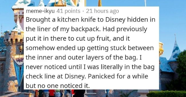 people share their 'if I got caught there was no explanation' stories | thumbnail Text - meme-ikyu 41 points · 21 hours ago Brought a kitchen knife to Disney hidden in the liner of my backpack. Had previously put it in there to cut up fruit, and it somehow ended up getting stuck between the inner and outer layers of the bag. I never noticed until I was literally in the bag check line at Disney. Panicked for a while but no one noticed it.
