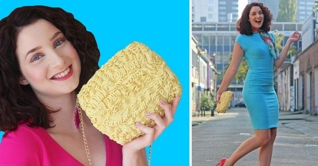 ramen handbag fashion fail of the week - thumbnail includes two pictures of woman holding ramen noodle handbag