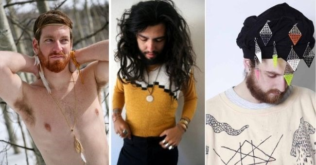 funny pics of men posing with their girlfriends' Etsy products - thumbnail includes three men posing in feminine clothes accessories