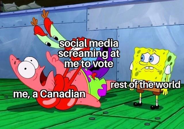 spongebob squarepants funny memes bikini bottom stephen hillenburg patrick star squidward week mr. krabs among us impostor companies after elections   olo social media screaming at vote rest world Canadian