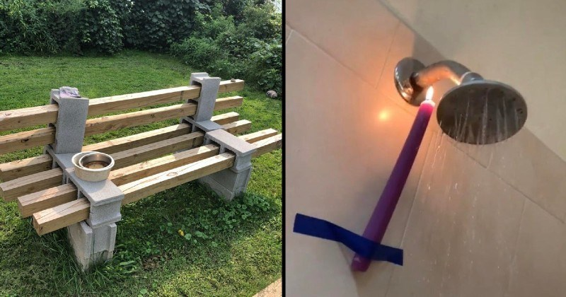 Funny and stupid engineering solutions | bench made of wooden planks and concrete blocks | candle taped below a shower head to warm heat up the pipes
