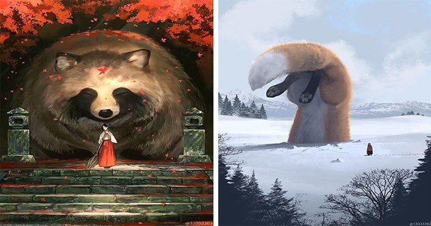 artist reimagines world where humans are small but animals are giant - thumbnail of giant raccoon and a priestess of a shrine and one of a fox buried headfirst into snow