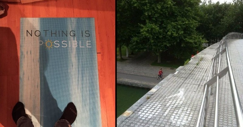 funny and dumb design failures | NOTHING IS POSSIBLE ink running out when printing poster | rail with too much space left over the ledge
