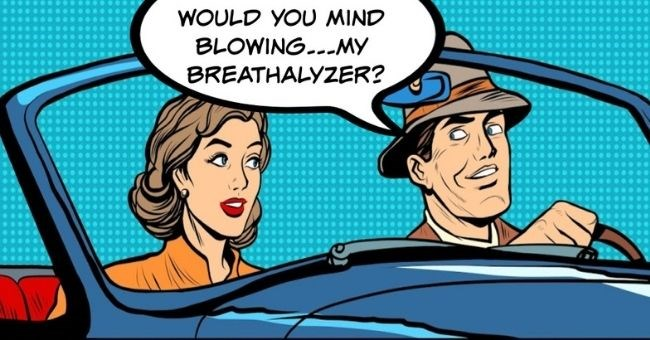Weirdest Things guys Have Done On First Dates - thumbnail pop art image of man and woman in car would you mind blowing my... breathalyzer | My date had a breathalyzer installed in his car because he had several DUIs. He assured me he would be able to drive, but when he wasn't he asked me to blow into it so his car would start