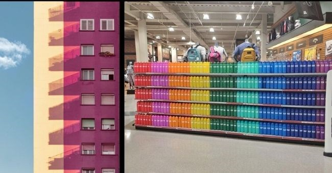 Pictures that show perfectionism - thumbnail includes two pictures including shadows on windows perfectly paralleled and bottles stacked up arranged by colors