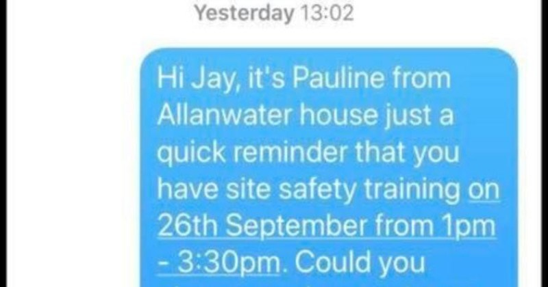 Guy gets trolled into taking pictures | 10:28 al 4G Jay Simpson iMessage Yesterday 13:02 Hi Jay s Pauline Allanwater house just quick reminder have site safety training on 26th September 1pm 3:30pm. Could please send picture face training cards this is speed up process advance next week. Thanks Yesterday 15:52 Wait till get chop Today 09:36 Hi jay have had haireut vot2 uot Lroally iMessage