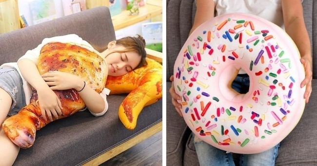 pictures of realistic food pillows - thumbnail includes two pictures woman with chicken wing pillow and someone holding donut pillow