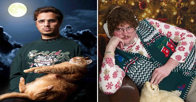 weird and uncomfortable family portrait images with pets - thumbnail of man holding confused cat in terrible photoshop background and one of a man posing seductively while touching his cat