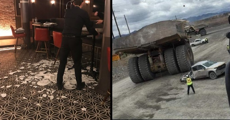 funny and wtf mistakes, messes and failures | waiter in a restaurant standing beside a pile of broken plates | giant bulldozer that ran over a car and smashed flattened half of it