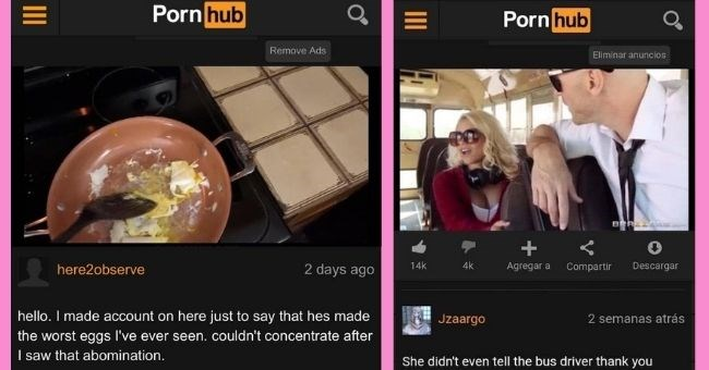 funny comments on pornhub - thumbnail includes two images of egg in frying pan and woman and man on bus | here2observe hello made account on here just say hes made worst eggs ever seen. couldn't concentrate after saw abomination | She didn't even tell the bus driver thank you