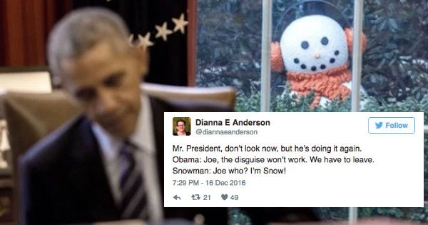 twitter,obama,White house,reactions,pranks,funny,joe biden,holidays,politics,snowman
