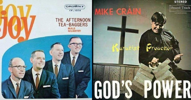 weird and funny album covers | CROWN JOY AFTERNOON TEA-BAGGERS MALE QUARTET | STEREO Sound Track MIKE Guitarist Preacher GOD'S POWER