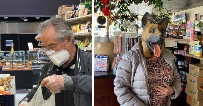 funny pics of people getting creative with their masks - thumbnail includes two pictures of man with sanitary pad on his face and woman with dog mask