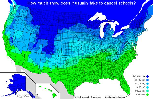 top weekly infographics guides   Animal - much snow does usually take cancel schools? 24 60 cm 12 30 cm) 6 15 cm) 3 8 cm) 1 2.5 cm) Any snow e 2014 Alexondr Trubetskoy ispol.com/nasha/snou