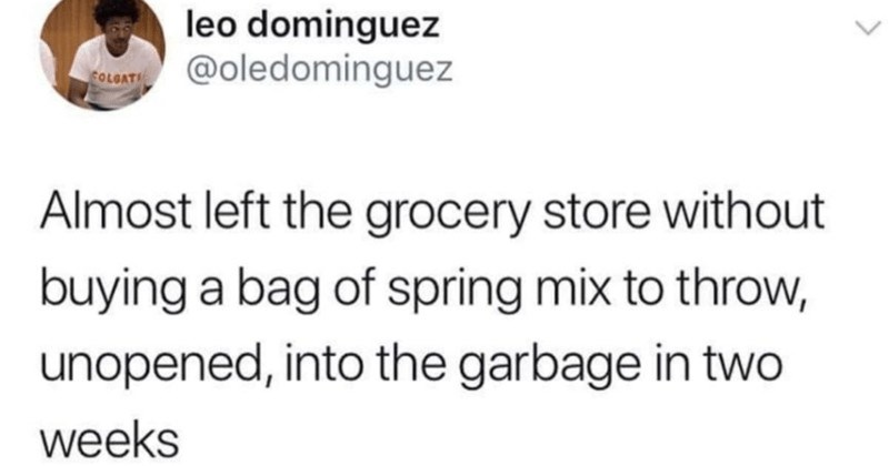 A collection of totally random and funny tweets | leo dominguez @oledominguez COLGAT Almost left grocery store without buying bag spring mix throw, unopened, into garbage two weeks