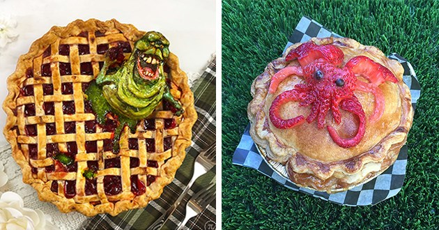 gorgeous and detailed pies featuring animals and monsters - thumbnail includes two images one of a ghostbusters pie and one of a kraken pie